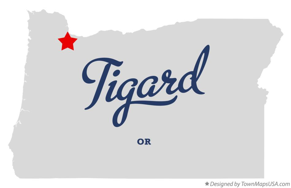 Map of Tigard Oregon OR