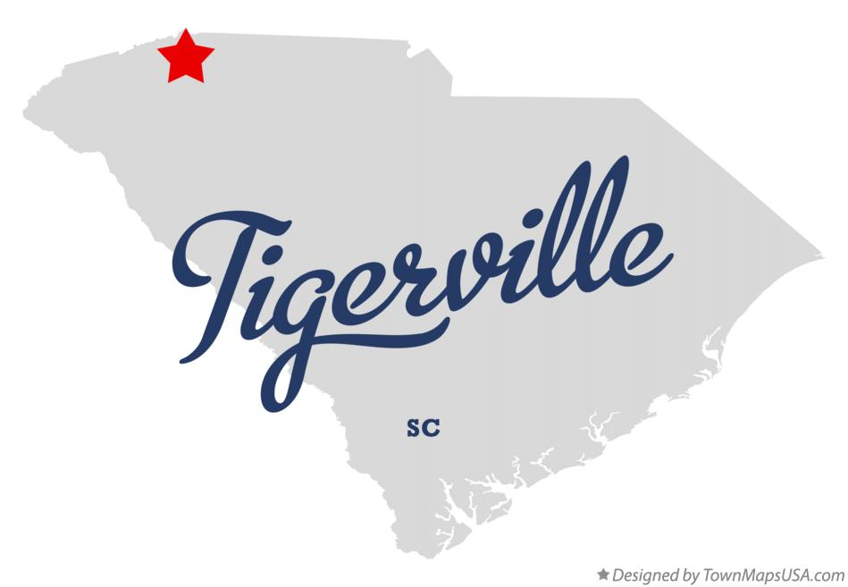 Map of Tigerville South Carolina SC