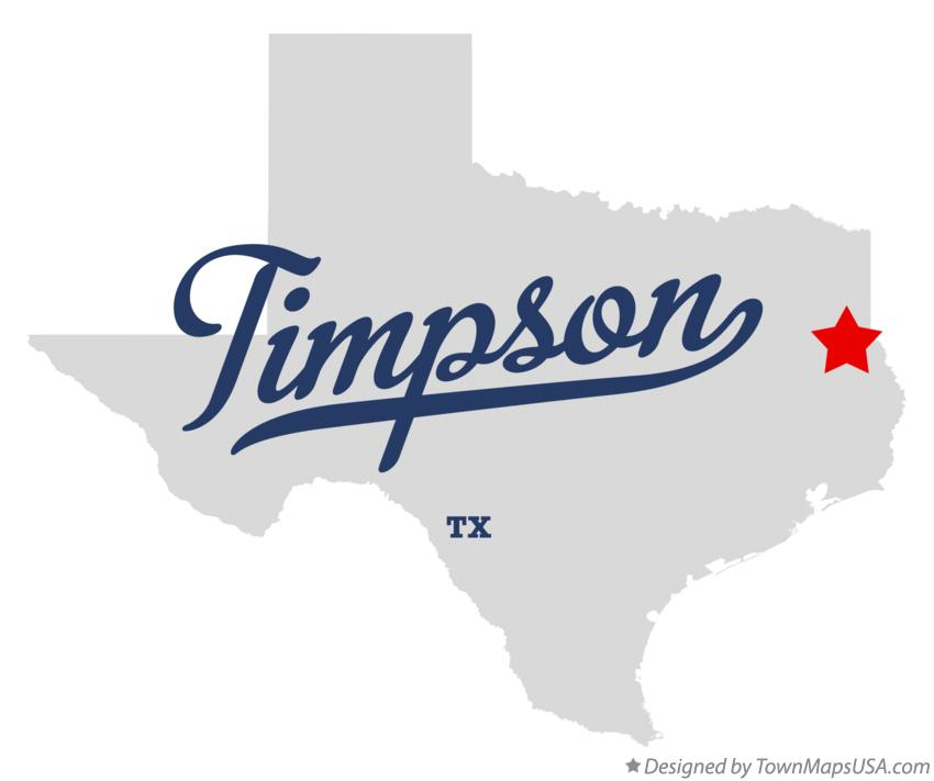 Map of Timpson Texas TX