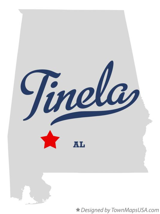 Map of Tinela Alabama AL