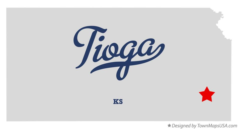 Map of Tioga Kansas KS
