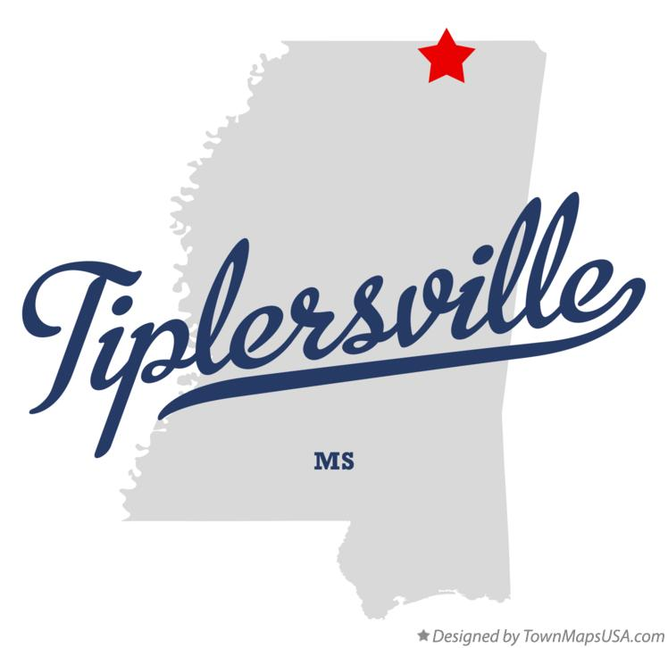 Map of Tiplersville Mississippi MS