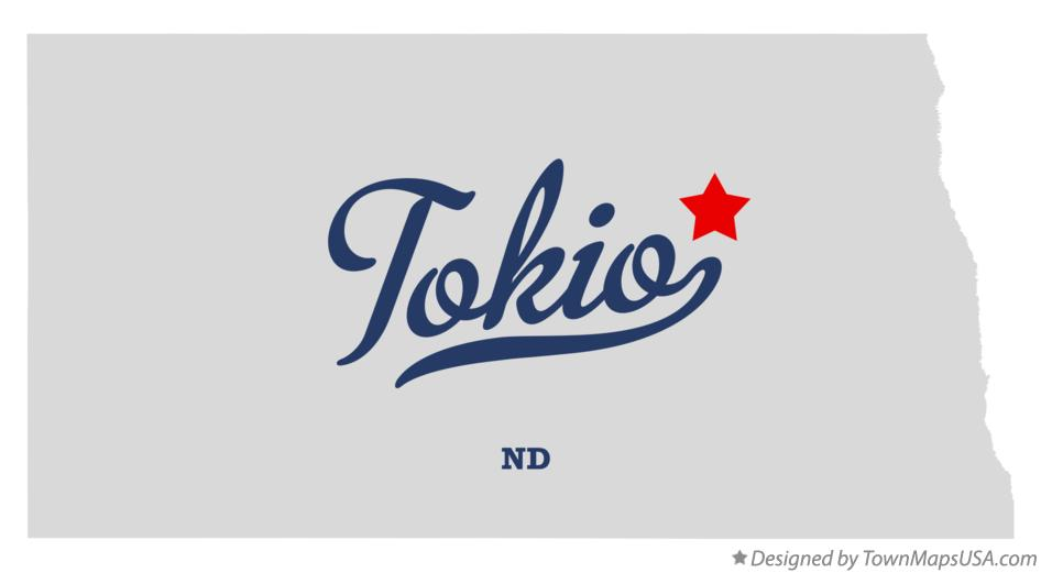 Map of Tokio North Dakota ND