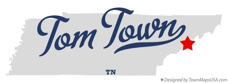 Map of Tom Town Tennessee TN
