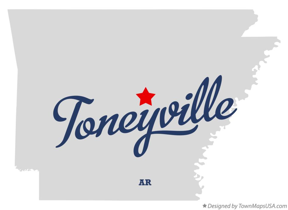 Map of Toneyville Arkansas AR