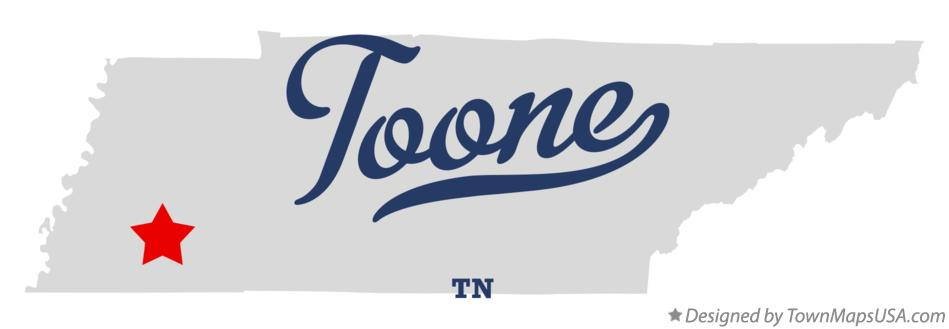Map of Toone Tennessee TN