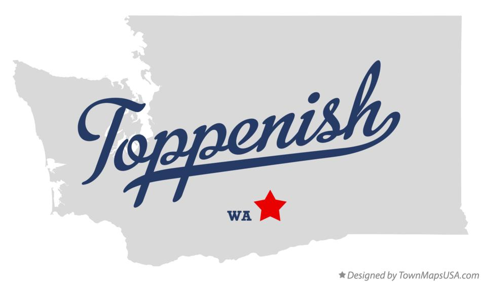 Map of Toppenish Washington WA