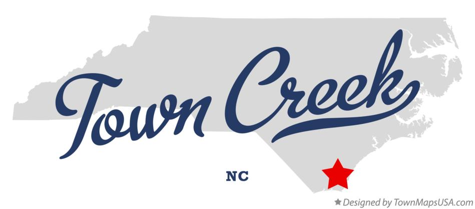 Map of Town Creek North Carolina NC