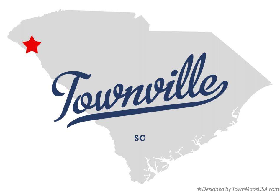 Map of Townville South Carolina SC