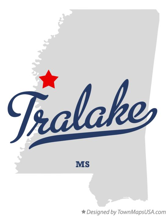 Map of Tralake Mississippi MS
