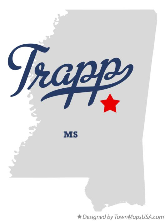 Map of Trapp Mississippi MS