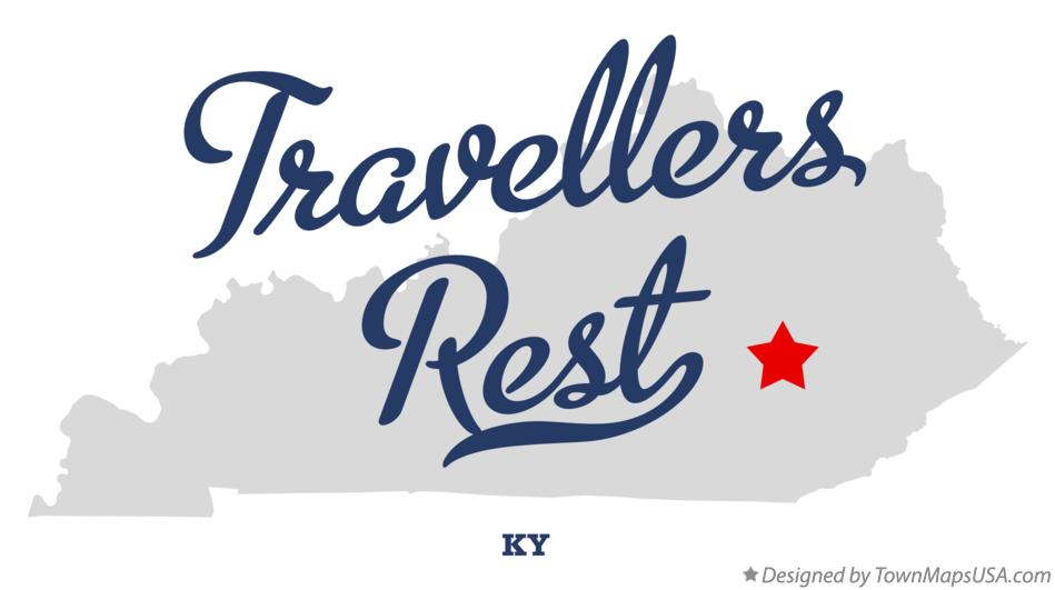 Map of Travellers Rest Kentucky KY