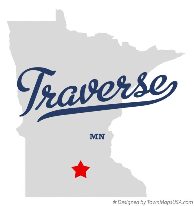Map of Traverse Minnesota MN