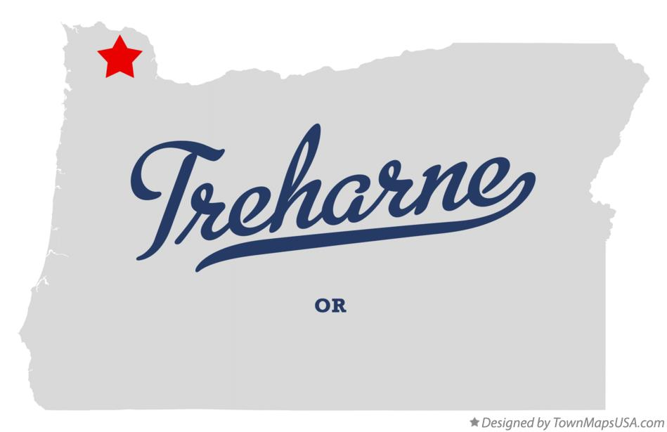 Map of Treharne Oregon OR