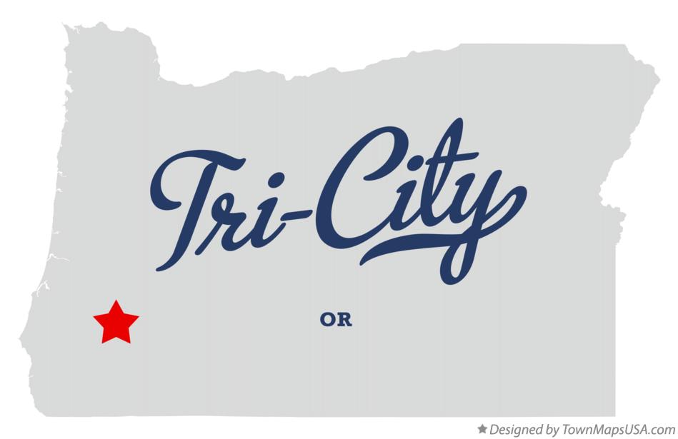 Map of Tri-City Oregon OR