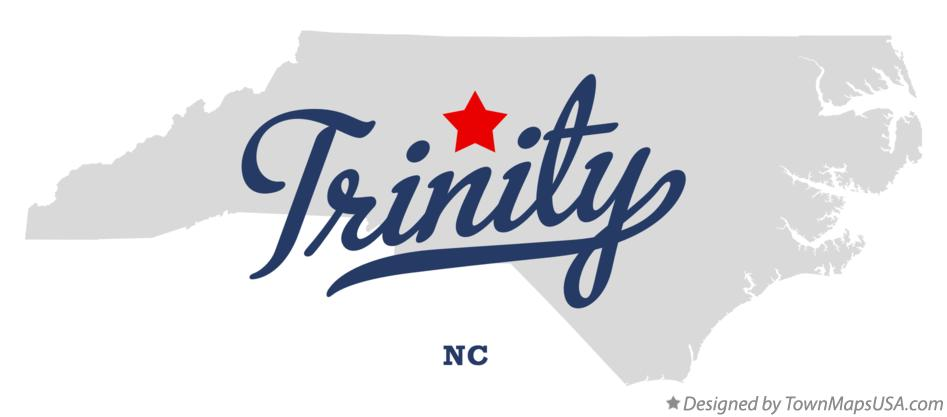 Map of Trinity, Randolph County, NC, North Carolina