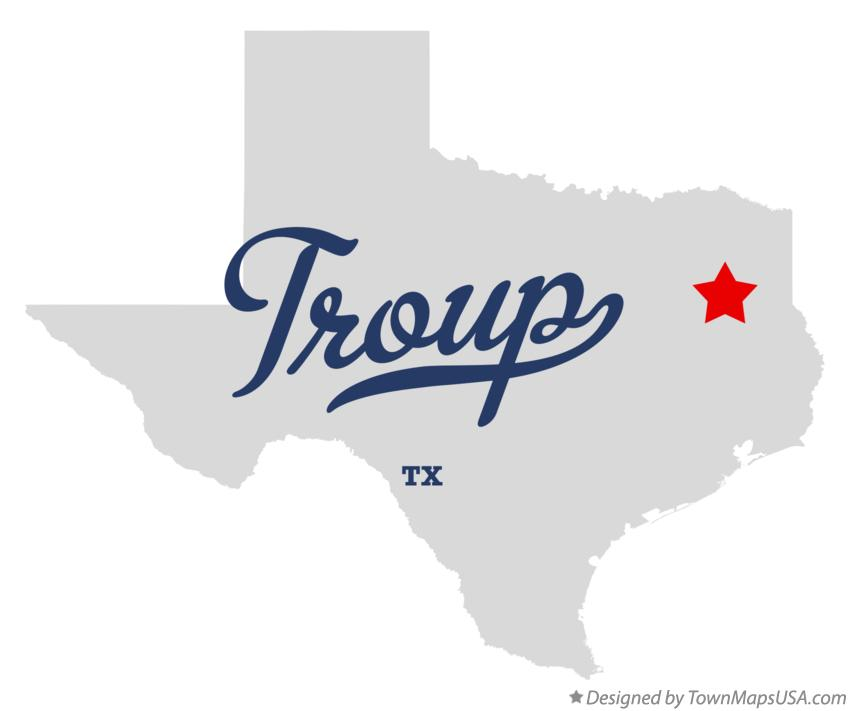 Map of Troup Texas TX