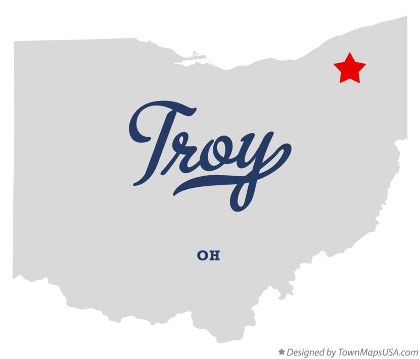 Map of Troy Ohio OH