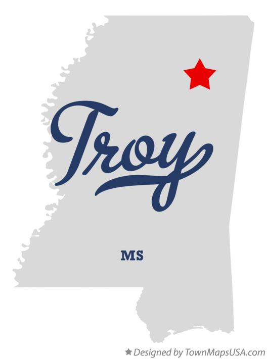 Map of Troy Mississippi MS