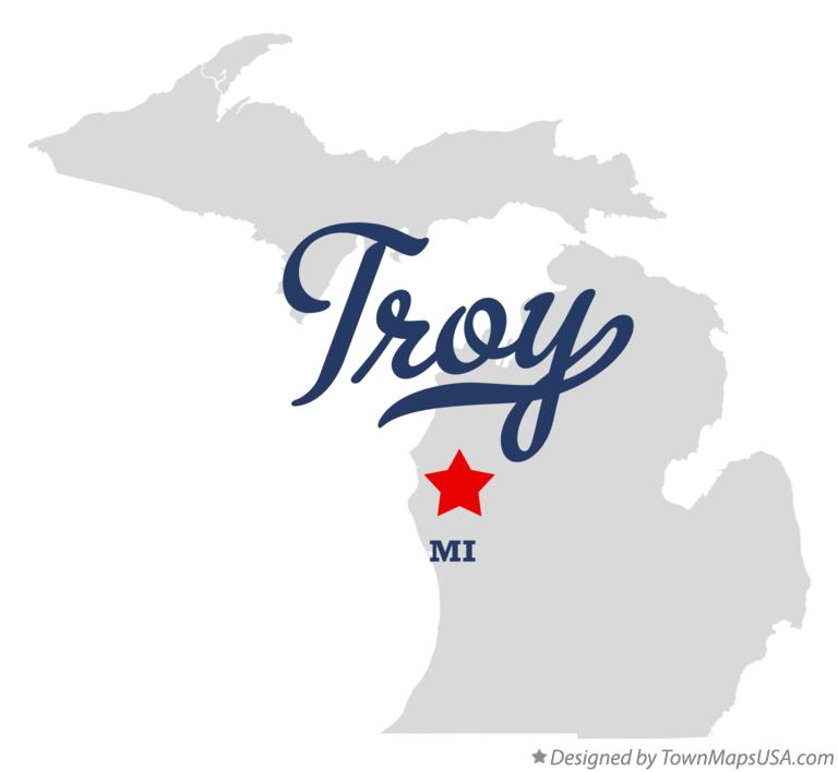 Map of Troy Michigan MI