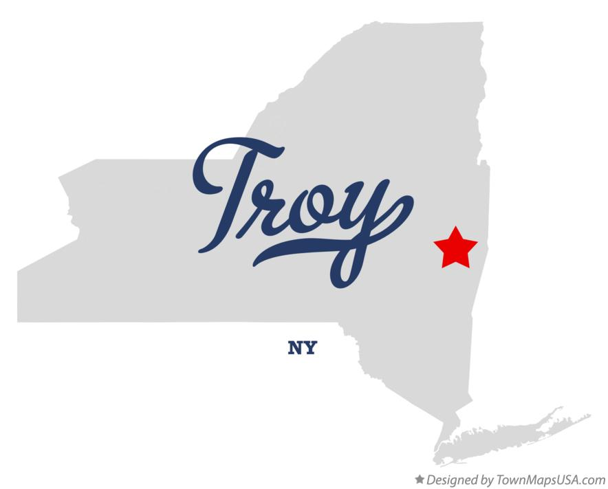 Map of Troy New York NY