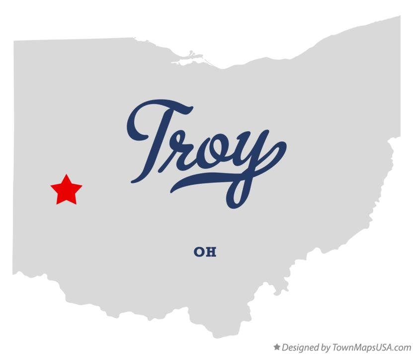 Map of Troy Miami County OH Ohio