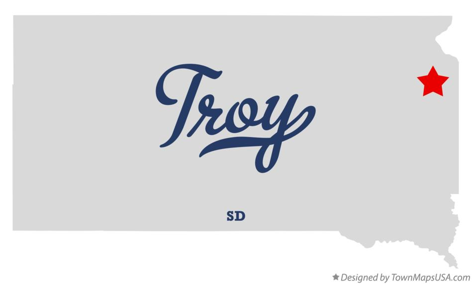 Map of Troy South Dakota SD