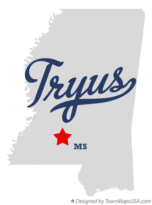Map of Tryus Mississippi MS
