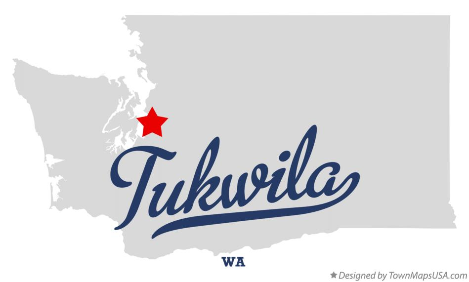 Map of Tukwila Washington WA