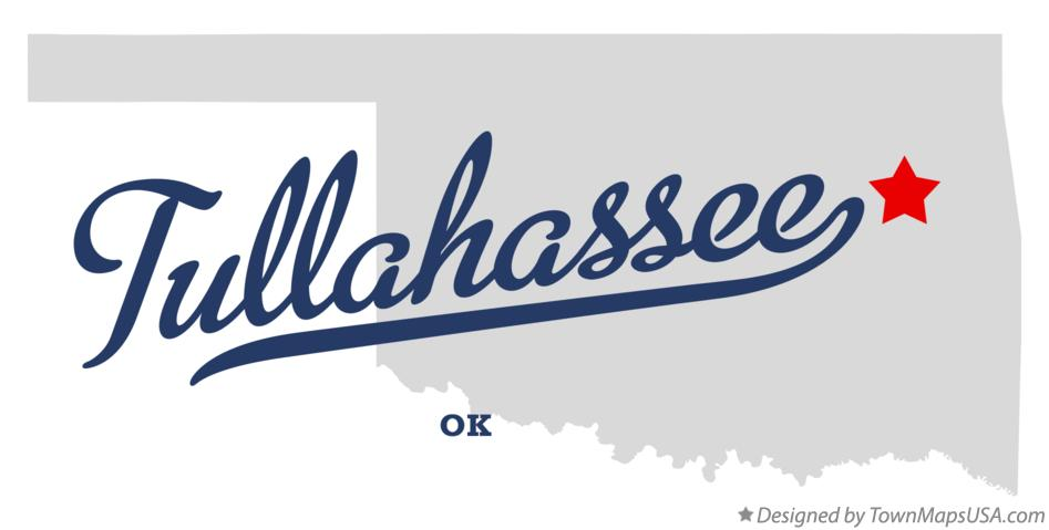 Map of Tullahassee Oklahoma OK