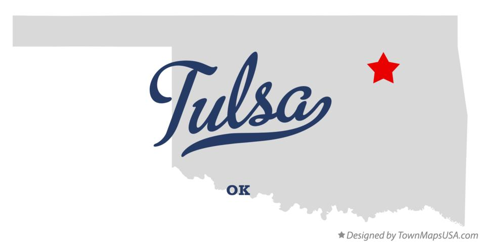 Map of Tulsa Oklahoma OK
