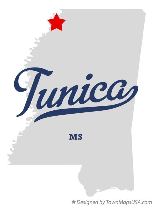 Map of Tunica Mississippi MS