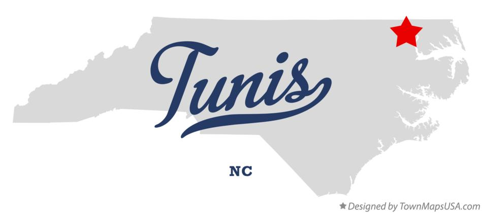 Map of Tunis North Carolina NC