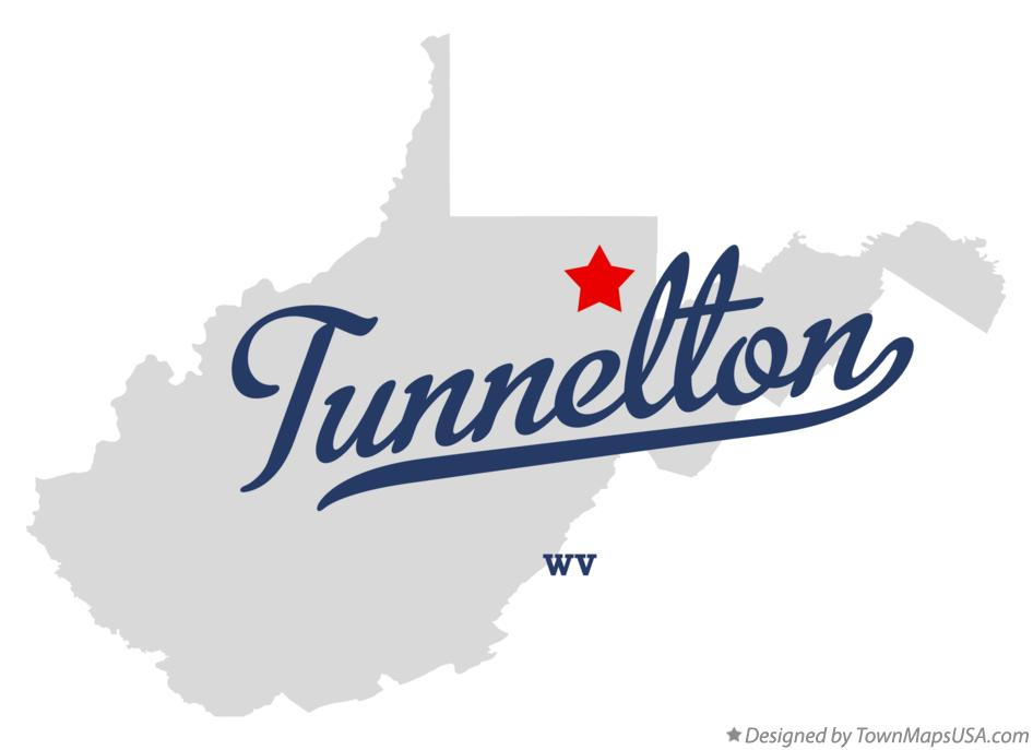 Map of Tunnelton West Virginia WV
