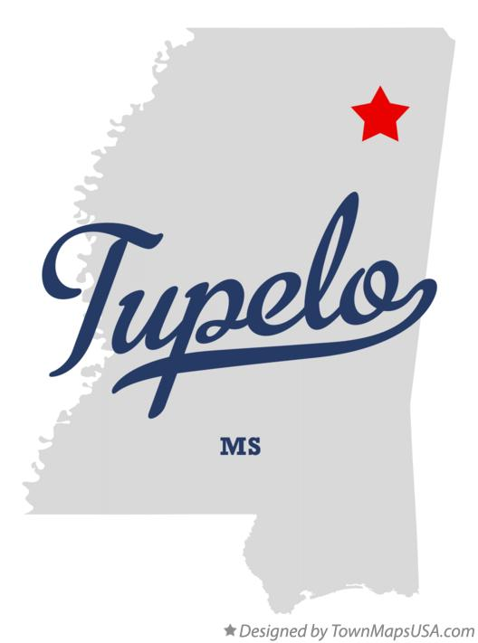 Map of Tupelo Mississippi MS