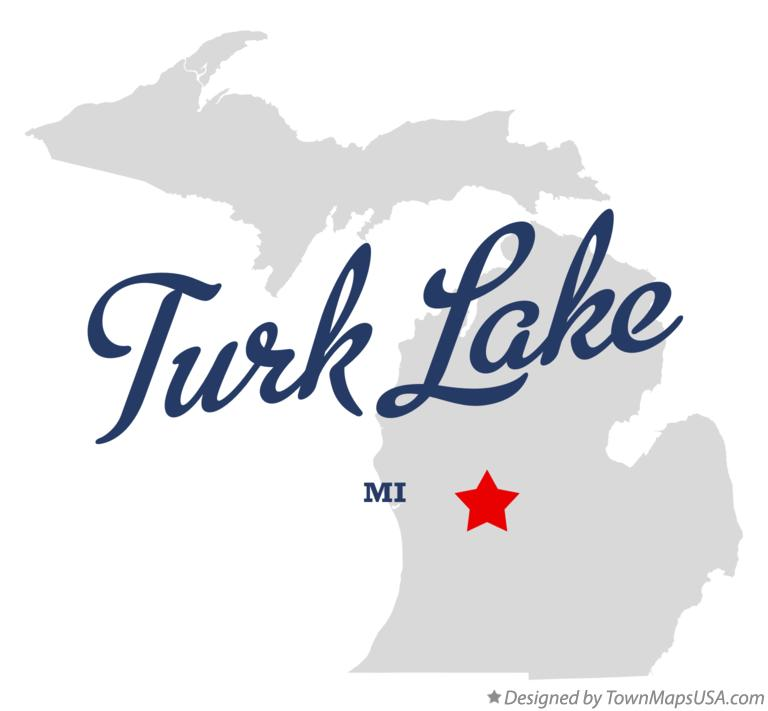 Map of Turk Lake Michigan MI