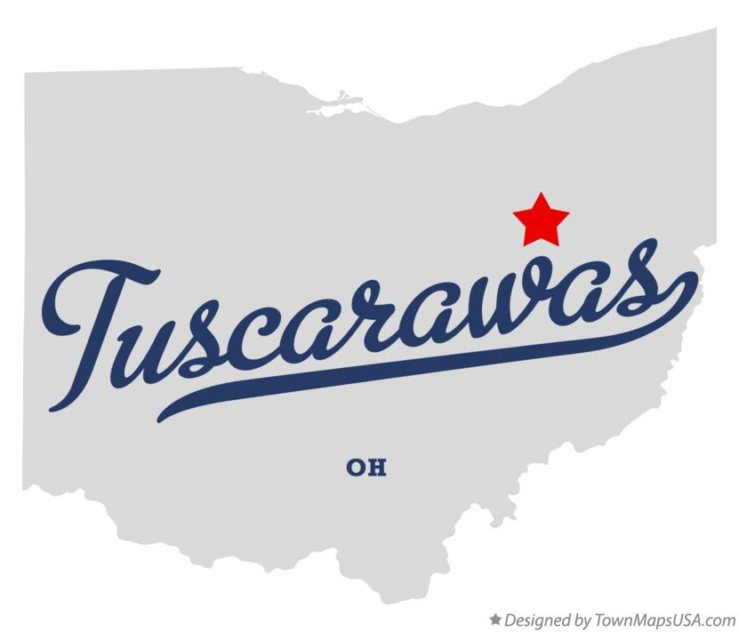 Map of Tuscarawas Ohio OH