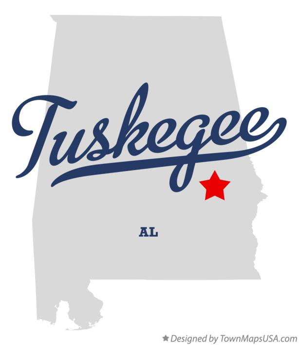 Map of Tuskegee Alabama AL