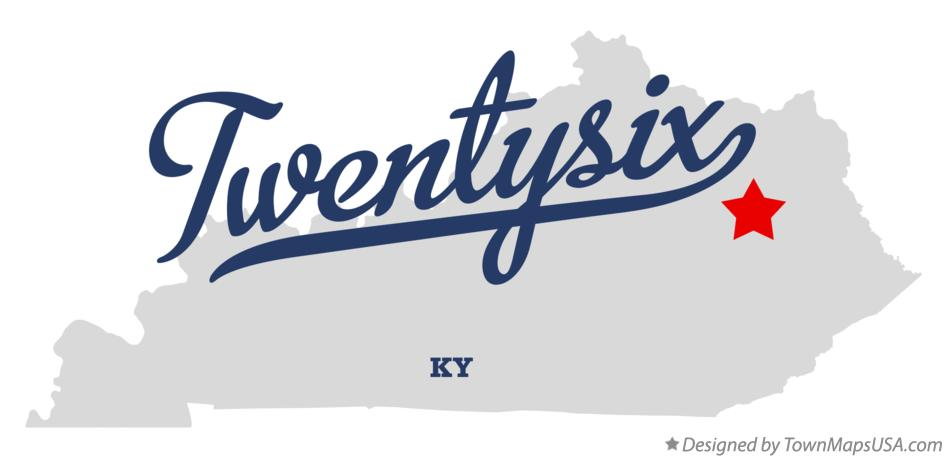 Map of Twentysix Kentucky KY