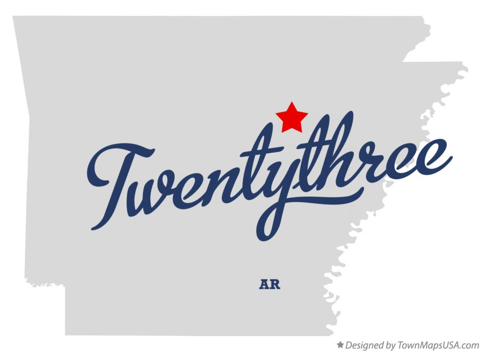 Map of Twentythree Arkansas AR