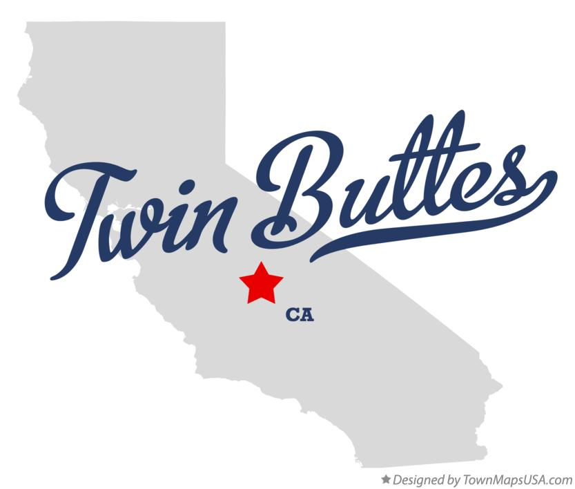 Map of Twin Buttes California CA