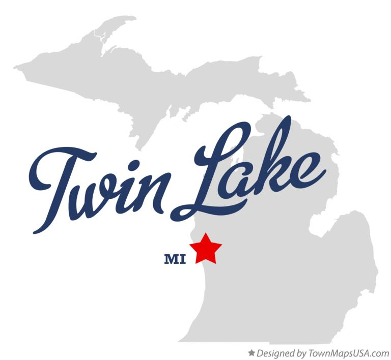 Map of Twin Lake Michigan MI
