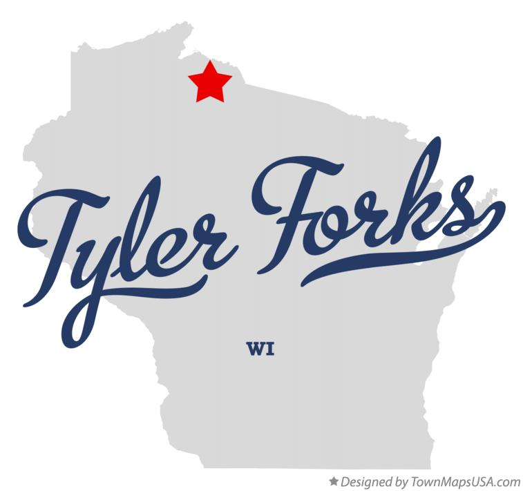Map of Tyler Forks Wisconsin WI