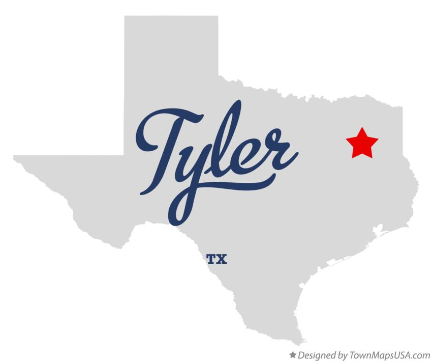 Map of Tyler Texas TX
