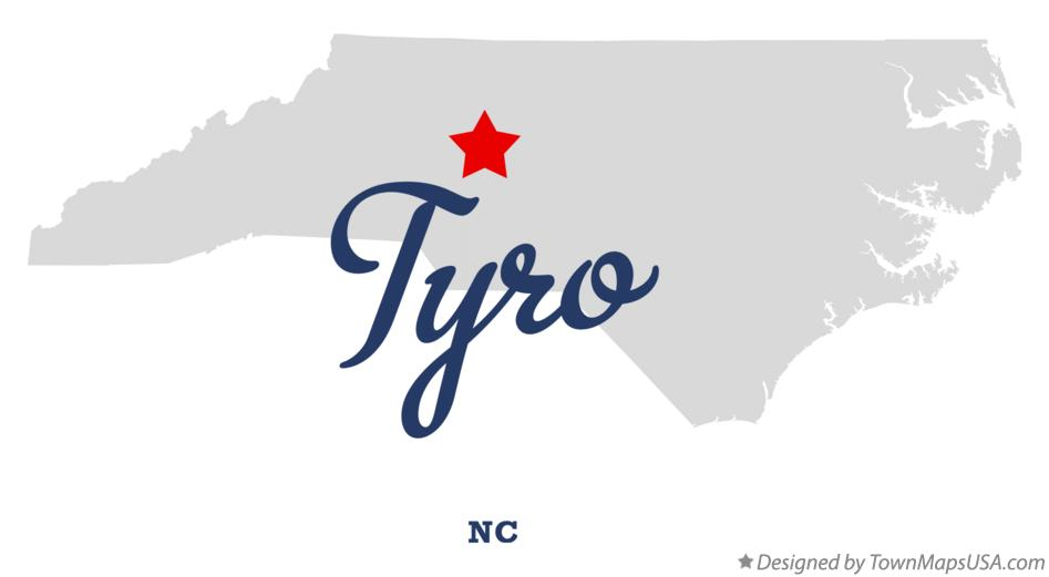 Map of Tyro North Carolina NC
