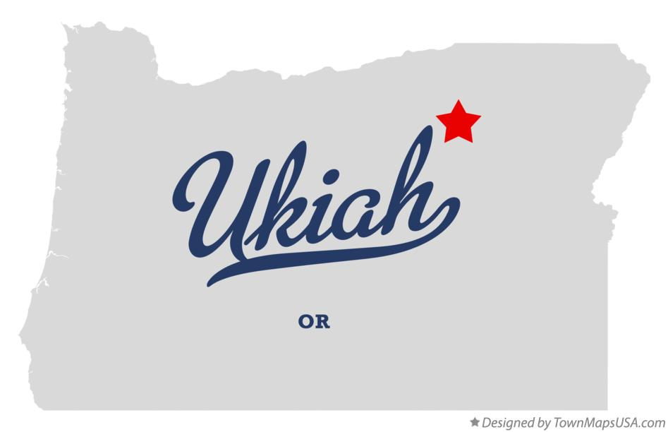 Map of Ukiah Oregon OR