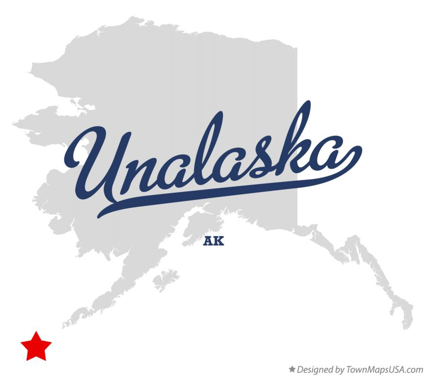 Map of Unalaska Alaska AK