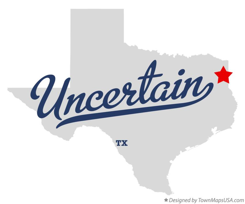 Map of Uncertain Texas TX