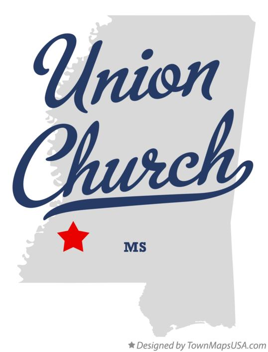 Map of Union Church Mississippi MS