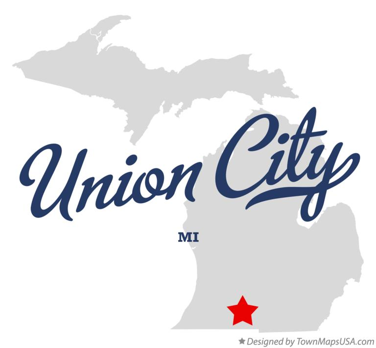 Map of Union City Michigan MI